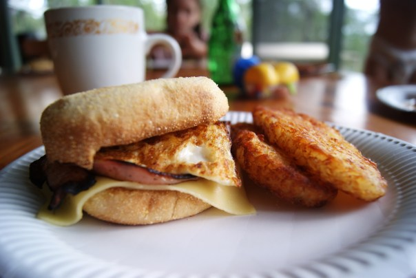 Dad's special homemade Maccas breakfast.