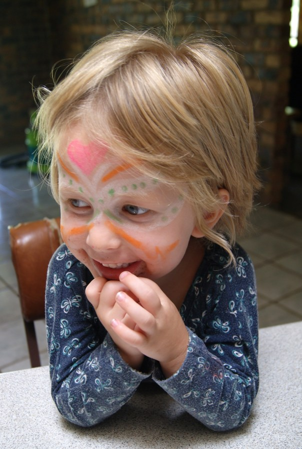 """I'm a butterfly!"" Says Molly after I drew on her face.She came out of my bathroom later with black eyeliner lines all over her face. ""Now I'm a cat....meow."""