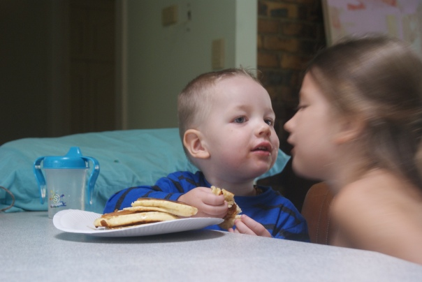 Pancakes with a kiss.